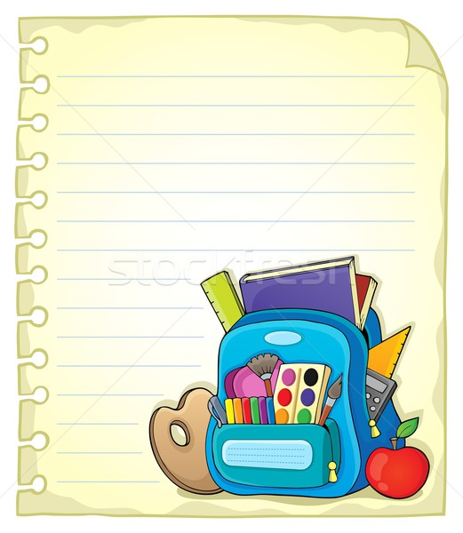 Notebook page with schoolbag 1 Stock photo © clairev