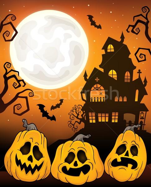 Stock fotó: Halloween · tökök · kép · terv · hold · művészet