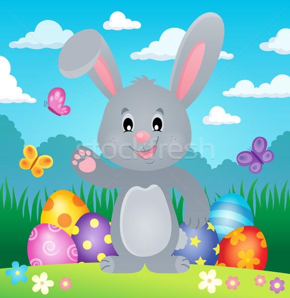 Stilize easter bunny görüntü Paskalya kelebek mutlu Stok fotoğraf © clairev