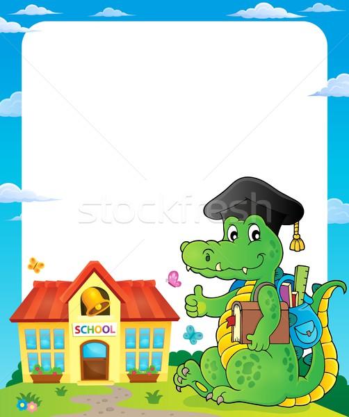 Keret iskola krokodil pillangó boldog művészet Stock fotó © clairev