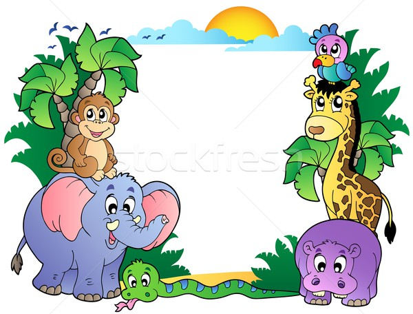 Frame with cute African animals Stock photo © clairev