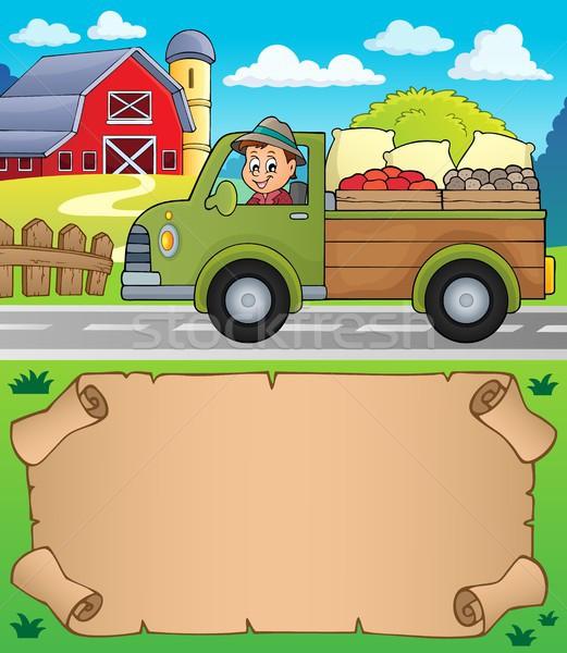 Mały pergamin gospodarstwa ciężarówka papieru samochodu Zdjęcia stock © clairev