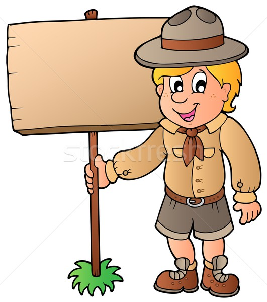 Scout boy holding wooden board Stock photo © clairev