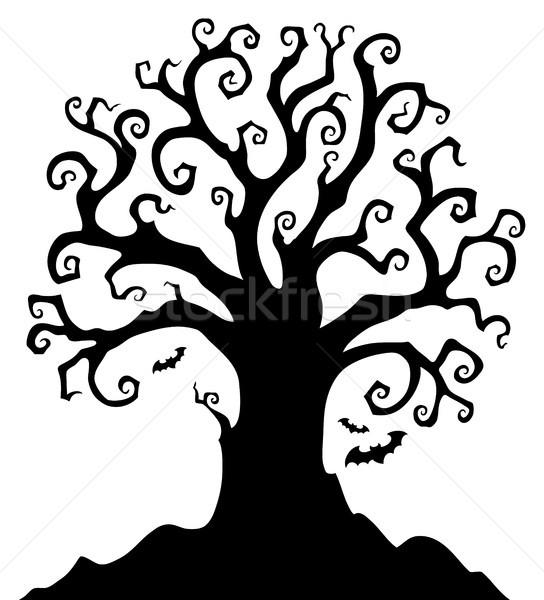 Halloween arbre silhouette sujet automne ailes Photo stock © clairev