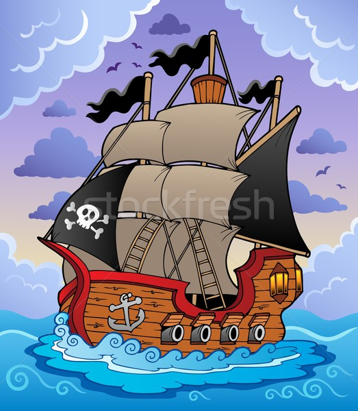 Pirate ship in stormy sea Stock photo © clairev
