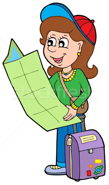 Cartoon girl traveller Stock photo © clairev