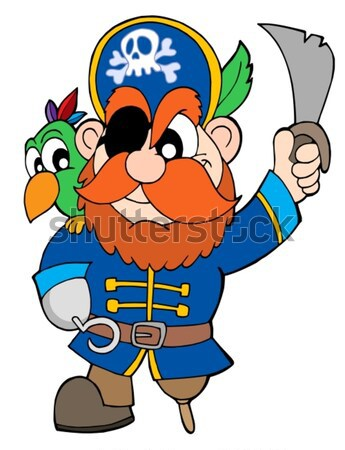 Pirate with parrot and sabre Stock photo © clairev