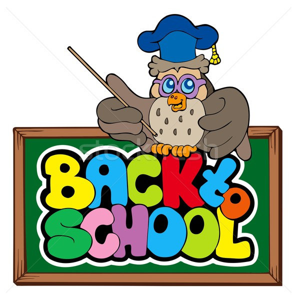 Back to school sign with owl lector Stock photo © clairev