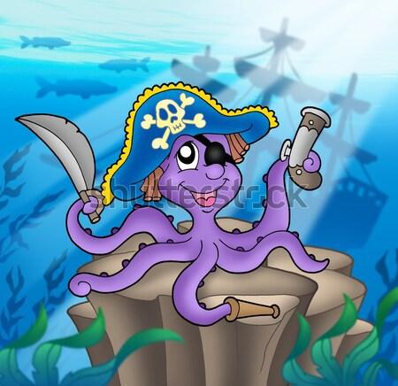 Pirate octopus near ship underwater Stock photo © clairev