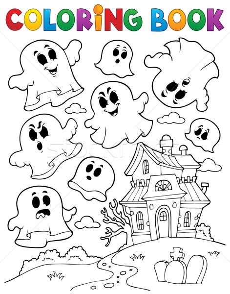 книжка-раскраска Ghost дома книга краской искусства Сток-фото © clairev