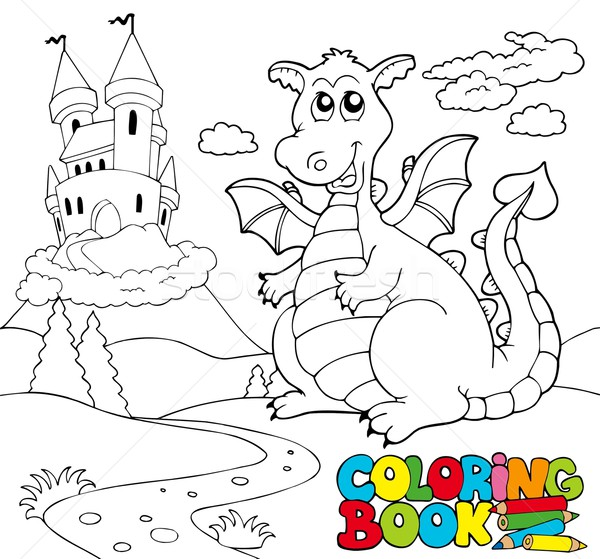 Coloring book with big dragon 2 Stock photo © clairev