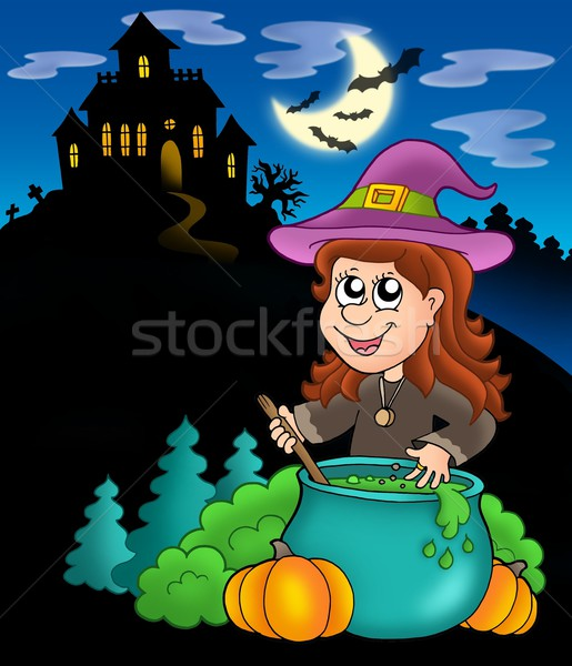 Wizard girl with haunted house Stock photo © clairev