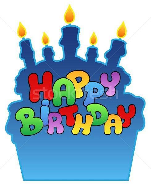 С Днем Рождения рождения торт знак весело силуэта Сток-фото © clairev