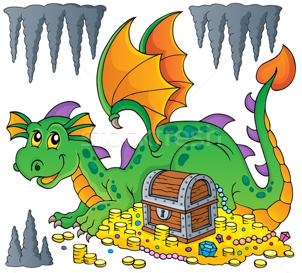 Dragon with treasure theme image 1 Stock photo © clairev
