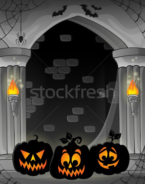 Stylized alcove with pumpkin silhouettes Stock photo © clairev