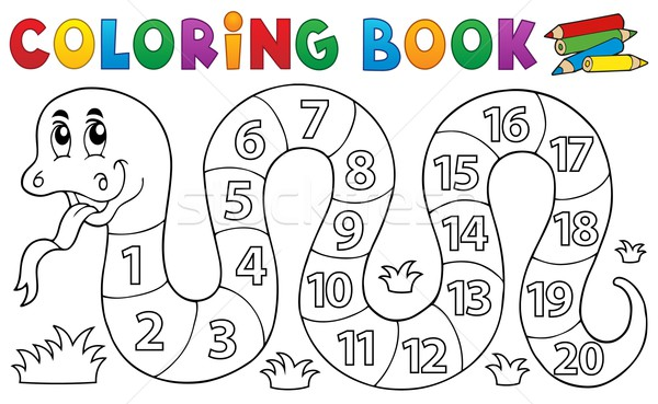 Coloring book snake with numbers theme Stock photo © clairev