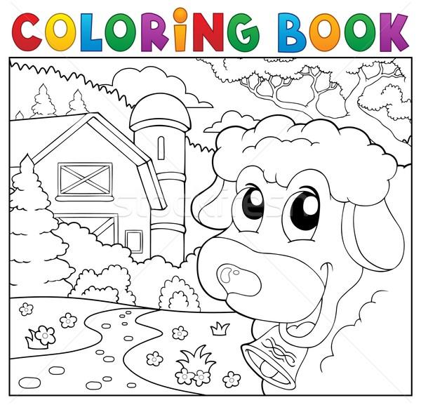 Coloring book lurking sheep near farm Stock photo © clairev