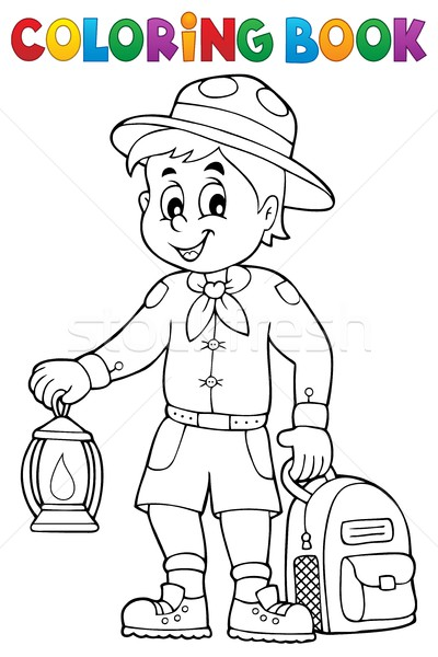 Coloring book scout boy theme 3 Stock photo © clairev