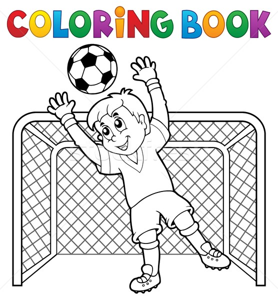 Coloring book soccer theme 2 Stock photo © clairev