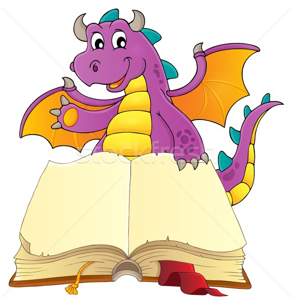 Open book with happy dragon Stock photo © clairev