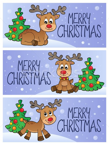 Joyeux Noël sujet bannières arbre hiver Photo stock © clairev