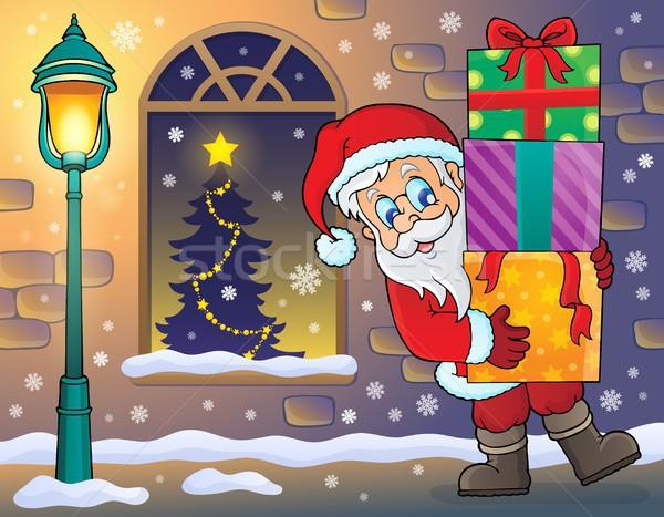 Kerstman trottoir man venster kunst kleding Stockfoto © clairev
