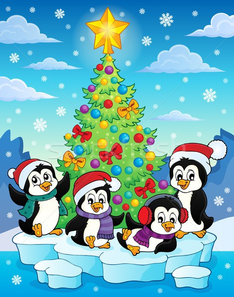 Christmas tree and penguins image 2 Stock photo © clairev