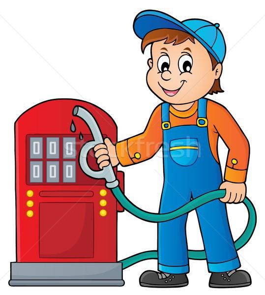 Posto de gasolina trabalhador feliz arte trabalhando Óleo Foto stock © clairev