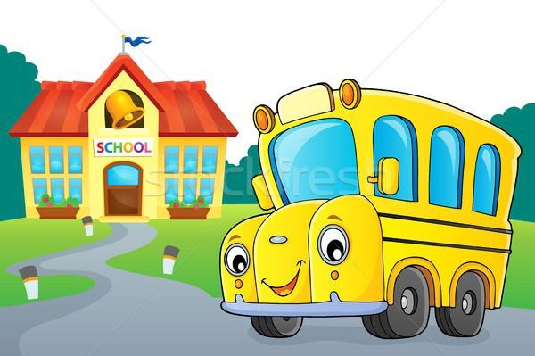 школьный автобус изображение глаза лице здании искусства Сток-фото © clairev