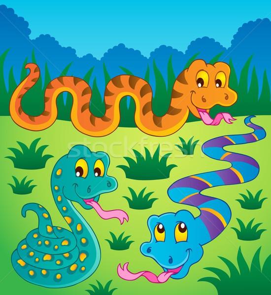 Kép kígyó boldog természet terv nyár Stock fotó © clairev