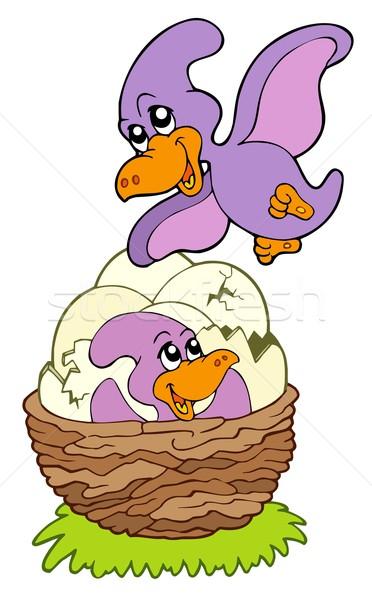 Cartoon pterodactyl mom and baby Stock photo © clairev