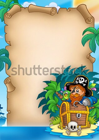 Pirate parchment with palms Stock photo © clairev