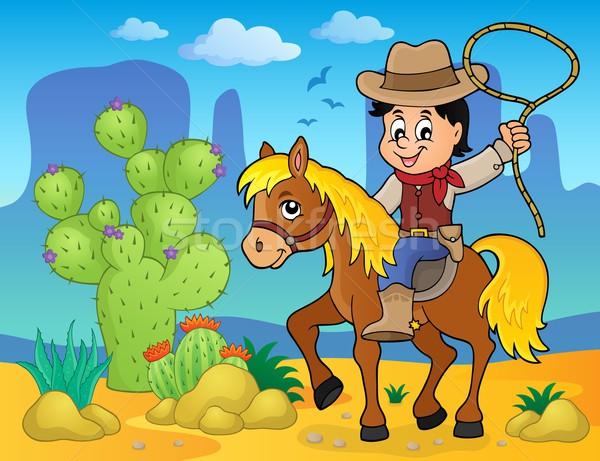 Cowboy konia obraz człowiek lata piasku Zdjęcia stock © clairev