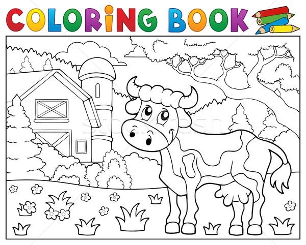 Kleurboek koe boerderij boek gebouw gelukkig Stockfoto © clairev