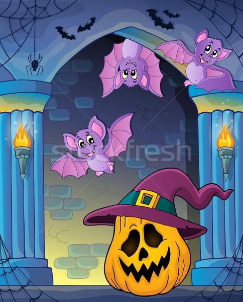 Dynia kapelusz czarownicy obraz twarz ściany sztuki Zdjęcia stock © clairev