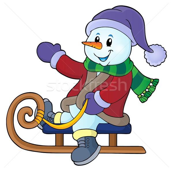 Snowman sanki obraz sztuki zimą ubrania Zdjęcia stock © clairev