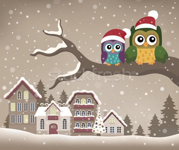 Christmas owls on branch theme image 1 Stock photo © clairev