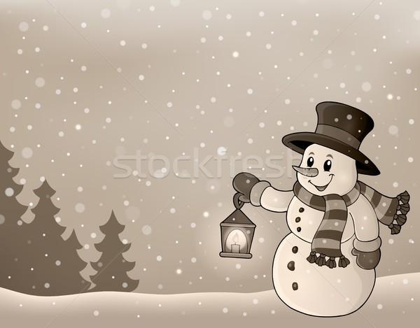 стилизованный зима изображение снеговик улыбка свет Сток-фото © clairev