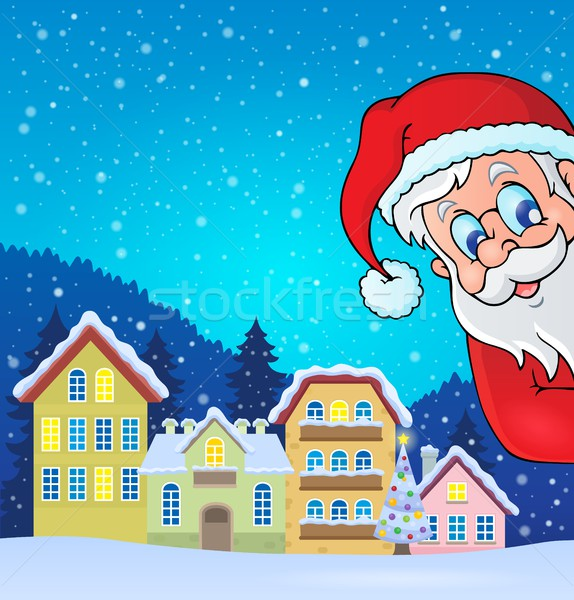 Winter village with lurking Santa Claus Stock photo © clairev