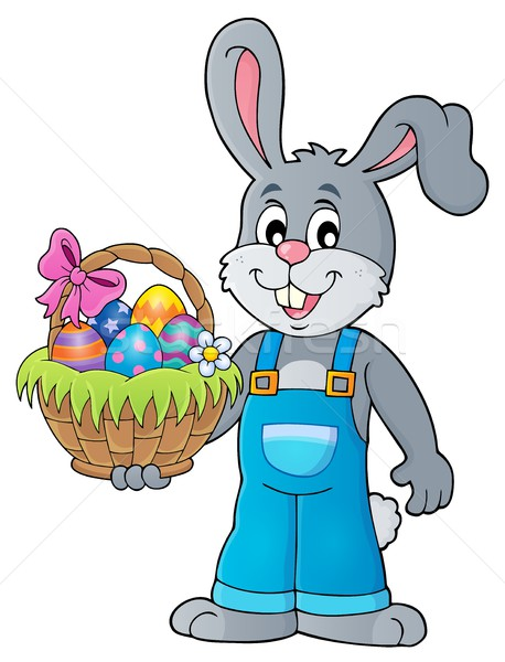 Bunny holding Easter basket theme 1 Stock photo © clairev