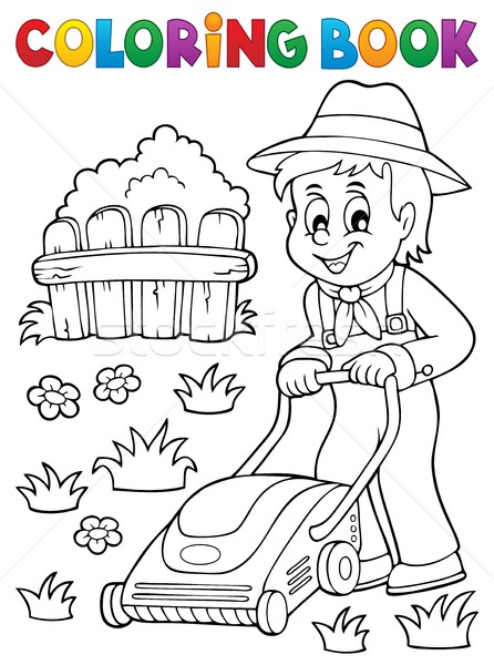 Coloring book gardener with lawn mower Stock photo © clairev