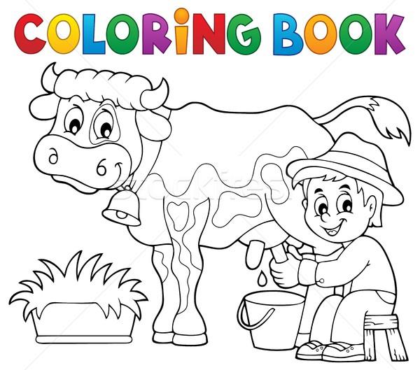 Coloring book farmer milking cow Stock photo © clairev