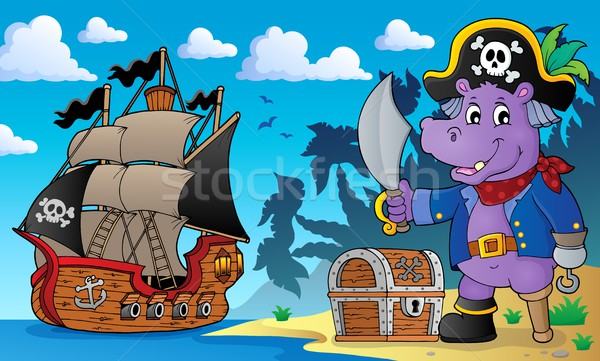 Pirate hippo theme 2 Stock photo © clairev