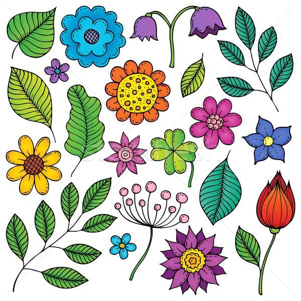 Desene flori frunze primăvară natură artă Imagine de stoc © clairev