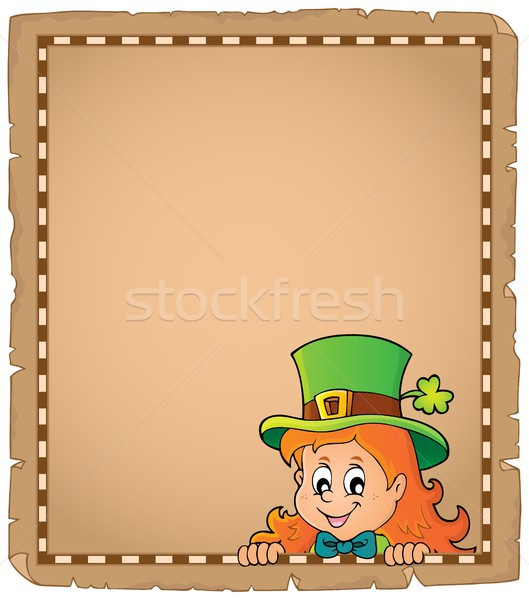 Lurking leprechaun girl parchment 1 Stock photo © clairev
