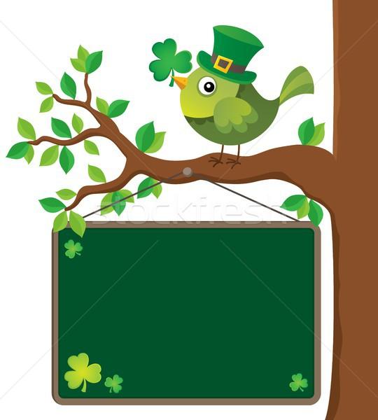 St Patricks Day theme board with bird Stock photo © clairev
