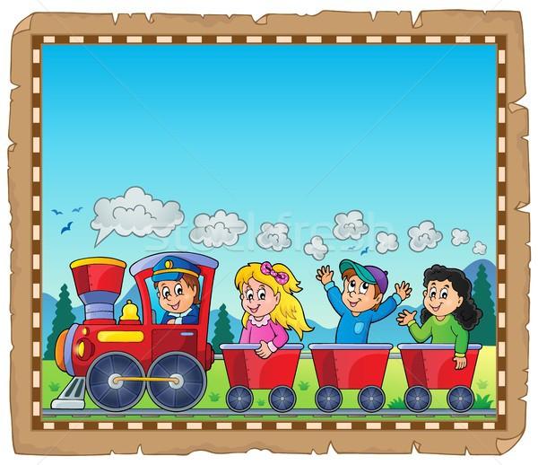 Pociągu dzieci pergamin dziewczyna uśmiech dzieci Zdjęcia stock © clairev