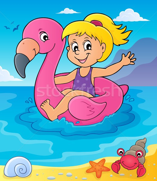 Girl floating on inflatable flamingo 4 Stock photo © clairev