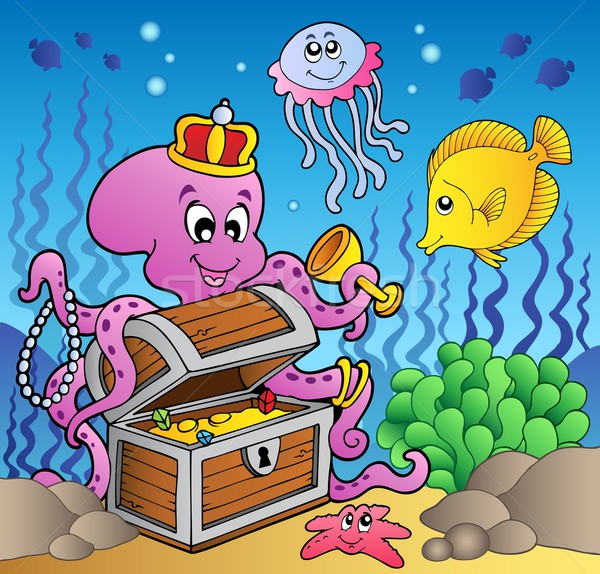 Cartoon octopus on treasure chest Stock photo © clairev