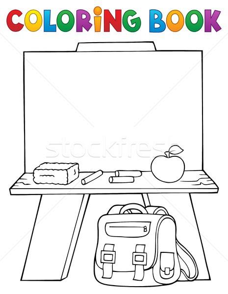 Livre de coloriage sujet livre bois école fruits Photo stock © clairev
